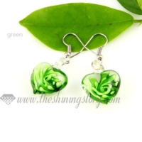 flower inside lampwork murano glass earrings jewelry