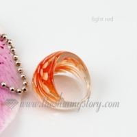 flower inside lampwork murano glass finger rings jewelry
