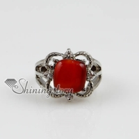 flower openwork semi precious stone natural agate jade finger rings