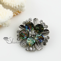 flower sea water rainbow abalone shelland rhinestone brooch
