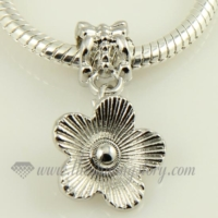 flower silver plated european charms fit for bracelets