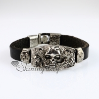 flower skull fleur de lis snap wrap bracelets genuine leather