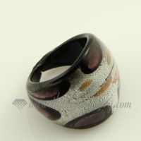 foil lampwork murano glass finger rings jewelry