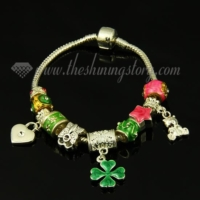 four clover charm bracelets with european enamel big hole beads