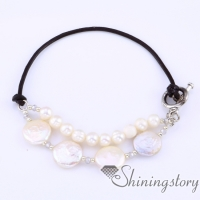 freshwater pearl bracelet leather toggle bracelet with natural pearl jewelry bridal jewelry necklace
