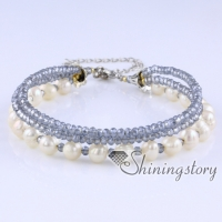 freshwater pearl bracelet multi strand pearl bracelet with crystal beads real pearls jewelry wedding jewellery collection