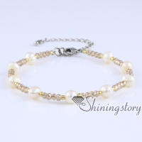 freshwater pearl bracelet white pearl bracelets with crystal real pearls jewellery bridesmaid jewelry