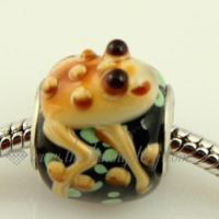 frog murano glass large hole beads for fit charms bracelets