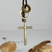 genuine leather brass cross interlock pendant adjustable long necklaces