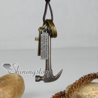 genuine leather brass hammer cross pendant adjustable long necklaces