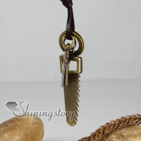 genuine leather brass saw cross interlock pendant adjustable long necklaces