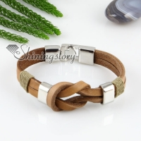 genuine leather charm double layer wristbands bracelets unisex