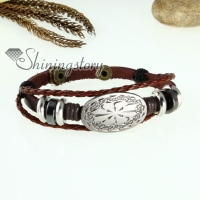 genuine leather charm wrap bracelets unisex