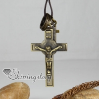 genuine leather copper cross interlock pendant adjustable long necklaces