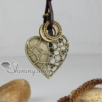 genuine leather copper openwork heart pendant adjustable long necklaces