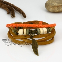 genuine leather multi layer leaf charm wrap bracelets