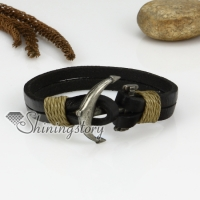genuine leather two layer double layer anchor snap wrap bracelets