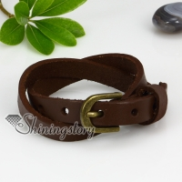 genuine leather two layer double layer snap wrap bracelets