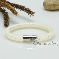 genuine leather woven bracelet wristbands bracelets magnetic buckle snap bracelets for men and women