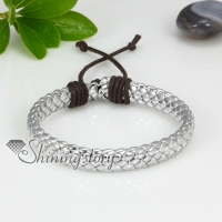 genuine leather woven drawstring wrap bracelets
