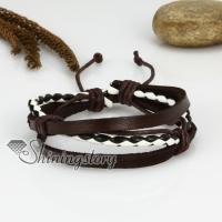 genuine leather woven multi layer drawstring wrap bracelets