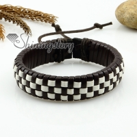genuine leather woven wristbands adjustable drawstring rainbow bracelets unisex