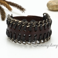 genuine leather wristbands handmade leather bracelets with buckle gothic punk style bracelets bracelets