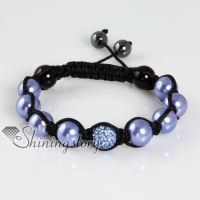 glitter ball pave beads imitated pearls macrame bracelets