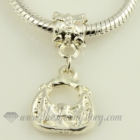 handbag silver plated european charms fit for bracelets