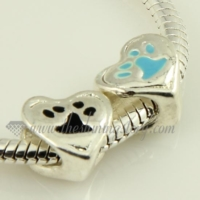 heart enamel european big hole charms fit for bracelets