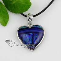 heart fancy color dichroic foil glass necklaces with pendants silver plated