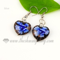 heart flower lampwork murano glass earrings jewelry