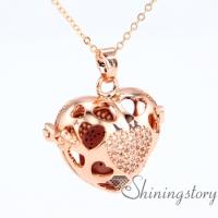 heart locket aromatherapy locket chain locket gold open heart locket necklace