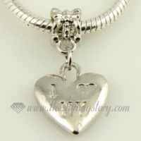 heart silver plated european big hole charms fit for bracelets