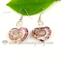 heart swirled lampwork murano glass earrings jewelry