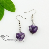 heart teardrop amethyst opal tigereye agate semi precious stone dangle earrings