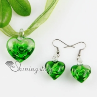 heart with flowers inside lampwork murano italian venetian handmade glass pendants and earrings jewelry sets