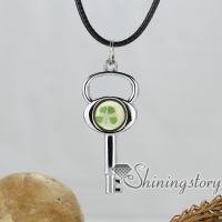 key lock butterfly round heart genuine leather metal silver plated necklaces with pendants