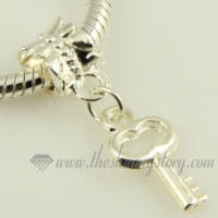 key silver plated european big hole charms fit for bracelets
