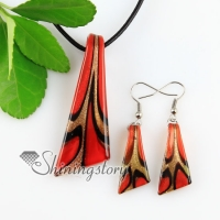 knife glitter lampwork murano italian venetian handmade glass pendants and earrings jewelry sets