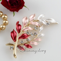 leaf enameled rhinestone scarf brooch pin jewelry