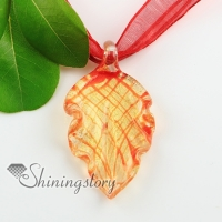 leaf glitter with lines handmade murano glass pendants necklaces