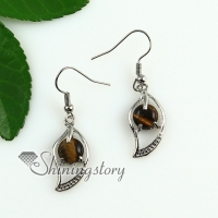 leaf round rose quartz tiger's-eye jade amethyst agate natural semi precious stone birthstone dangle earrings