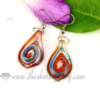 leaf swirled foil lampwork murano glass earrings jewelry