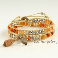 leather wrap bracelet womens bracelets double wrap bead bracelets on mocuba cords leather friendship bracelets