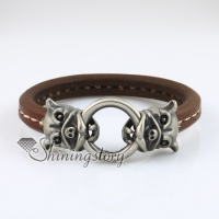 leopard round snap wrap bracelets genuine leather