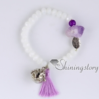 locket bracelet natural rough amethyst aromatherapy bracelets with tassel mala bracelet healing crystal jewelry yoga jewelry