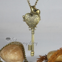 locket key brass antique long chain pendants necklaces