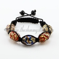 macrame glitter lampwork glass bracelets ball jewelry