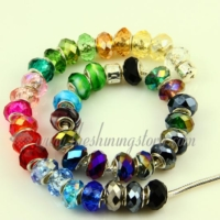 mix european crystal big hole beads for fit charms bracelets
